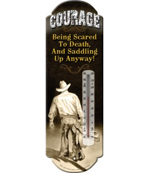 Tin Thermometer - Courage/Cowboy 5 x 17 in.