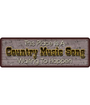 Tin Sign 10.5in x 3.5in - Country Music Song