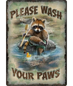 Tin Sign 12in x 17in - Wash Your Paws