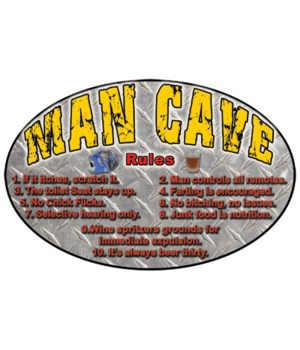 Oval Tin Sign 12in x 17in - Man Cave Rules