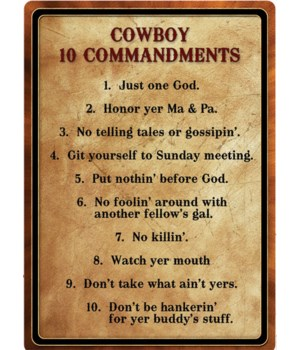 Tin Sign 12in x 17in - Cowboy 10 Commandments