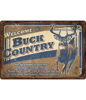 Tin Sign 12in x 17in - Buck Country