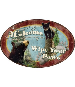 Oval Tin Sign 12in x 17in - Wipe Your Paws