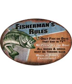 Tin Sign 12in x 17in - Fisherman's Rules