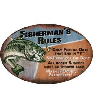 Tin Sign 12in x 17in - Fisherman's Rules