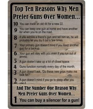Tin Sign 12in x 17in - Gun over Women