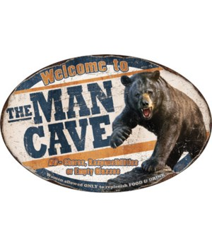 Oval Tin Sign 12in x 17in - Bear Man Cave