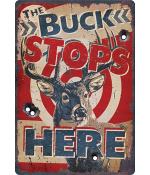 Tin Sign 12in x 17in - Buck Stops