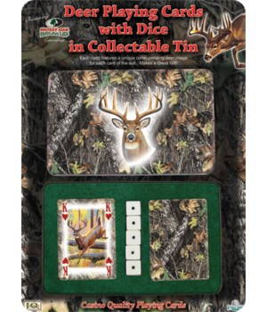 Playing Cards and Dice in Tin - Mossy Oak Deer