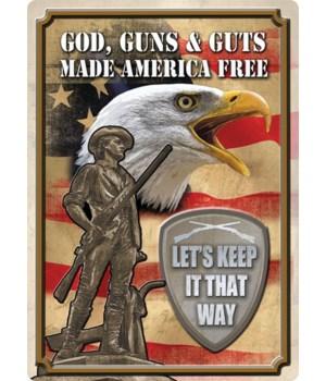 Tin Sign 12in x 17in - God, Guns, Guts