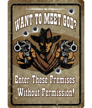 Tin Sign 12in x 17in - Meet God