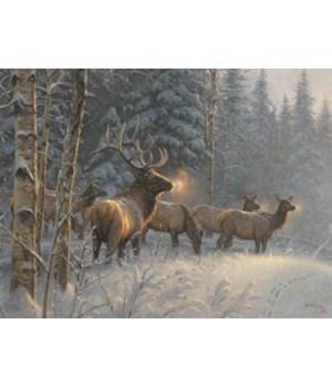 LED Art 16in x 12in - Elk in Snow