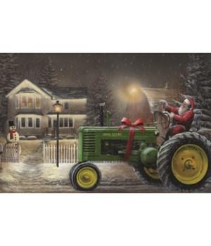 LED Art 24in x 16in - Santa/Tractor