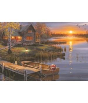 LED Art 24in x 16in - Lake Cabin