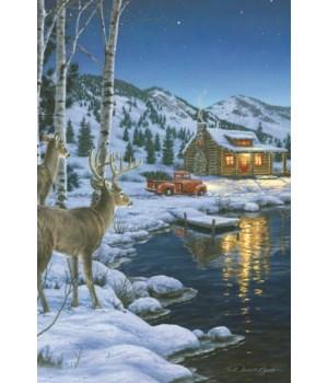 LED Art 24in x 16in - Cabin Deer