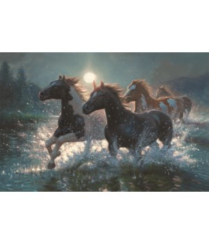 LED Art 24in x 16in - Horses/Water