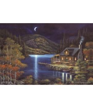 LED Art 24in x 16in - Moonlit Cabin