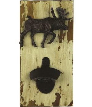 Bottle Opener - Rustic Moose 4.5 x 9 in.