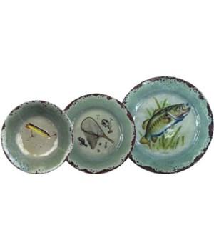 Dinnerware Set 12-Pc Melamine - Fish