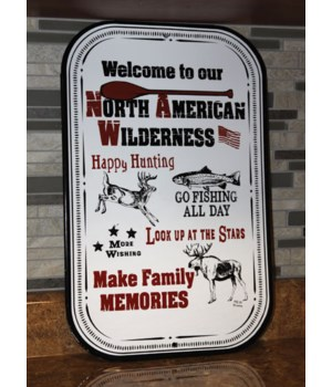 Porcelain Metal Sign - Welcome NA Wilderness 11.5 x 18 in.