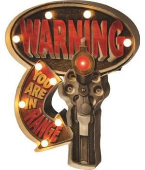 LED 3D Bar Sign - Warning In Range 2 x 14 x 18 in.