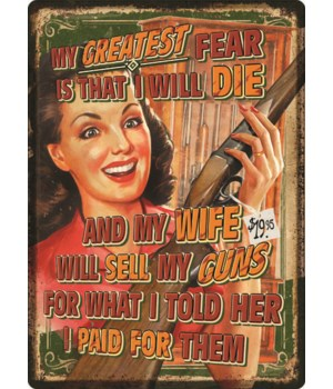 Tin Sign 12in x 17in - Wife Will Sell Guns