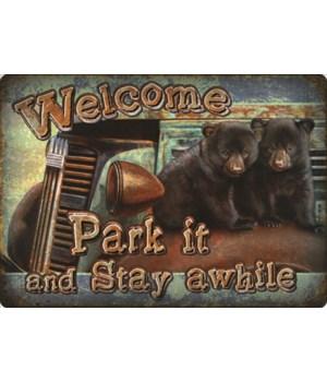 Tin Sign 12in x 17in - Park It Bear