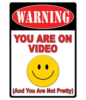 Tin Sign 12in x 17in - Warning On Video