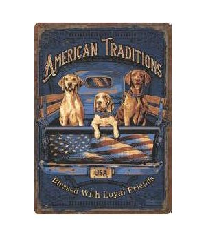 Tin Sign 12in x 17in - American Tradition Dogs