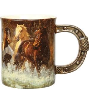 Ceramic Mug 3D 15oz - Horse Scene