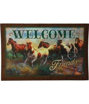 Door Mat Rubber 26in x 17in - Welcome Horse