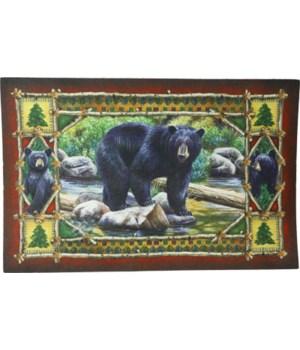 Door Mat Rubber 26in x 17in - Bear Scene