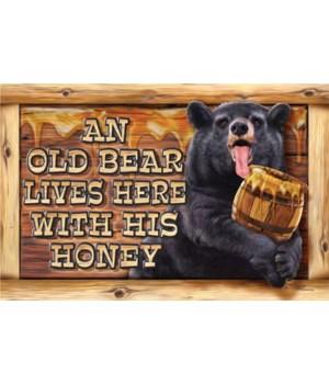 Door Mat Rubber 26in x 17in - Old Bear Lives