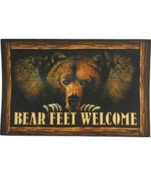 Door Mat Rubber 26in x 17in - Bear Feet