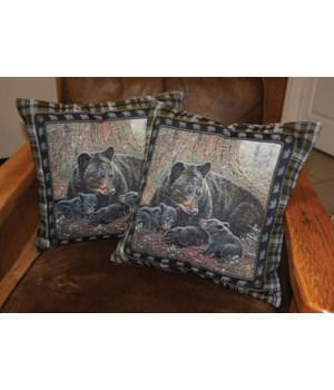 Tapestry Pillow 18in 2pk - Bear