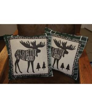 Tapestry Pillow 18in 2pk - Moose
