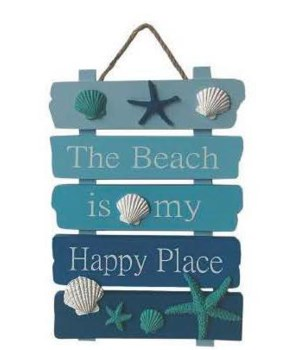 Wood Sign 12in x 8in - Beach Happy Place