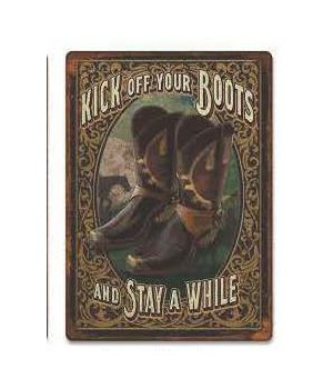 Tin Sign 12in x 17in - Kick Off Boots