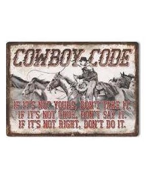 Tin Sign 12in x 17in - Cowboy Code