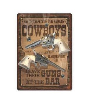 Tin Sign 12in x 17in - Safety Cowboys