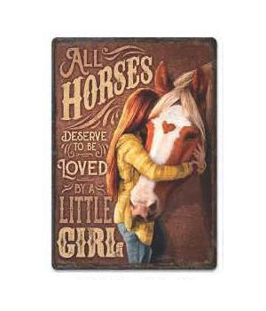 Tin Sign 12in x 17in - Horse Little Girl