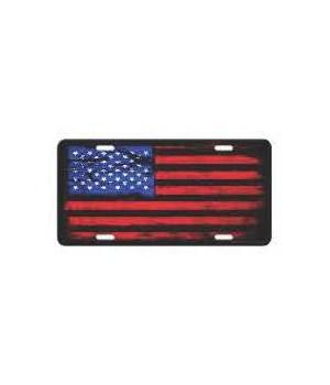 Vanity License Plate 12in x 6in - American Flag Distressed