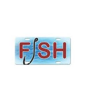 Vanity License Plate 12in x 6in - Fish and Hook