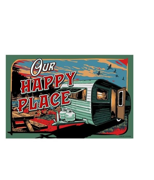 Door Mat Rubber 26in x 17in - Happy Place