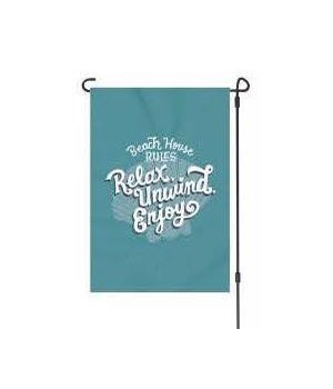 Lawn Flagwith Pole - Beach Rules 14 x 22  in.