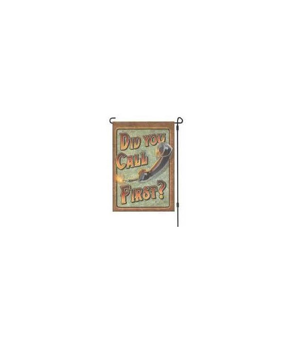 Lawn Flag  with Pole - Call First 14 x 22  in.