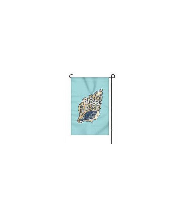 Lawn Flag with Pole - Life Beach 14 x 22  in.