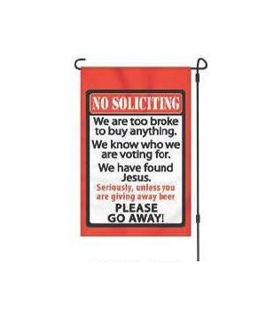 Lawn Flag with Pole - No Soliciting 14 x 22  in.