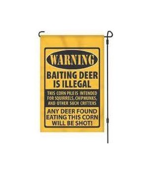 Lawn Flag with Pole - Warning Baiting 14 x 22  in.