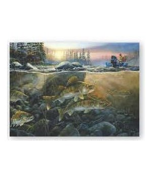 Puzzle in Tin 1000-Piece - Walleye on the Rocks 20 x 28 in.